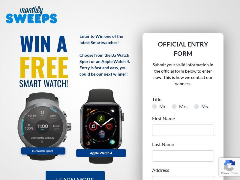 Premium Rewards USA - Monthly Sweeps - Smart Watch CPL [US]