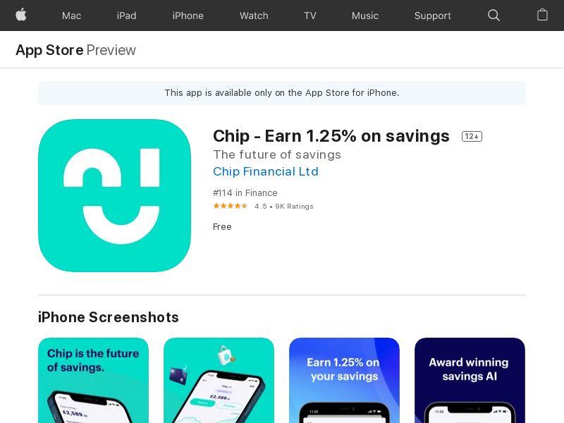 Chip - Earn 1.25% on savings - GB - iOS - CPE