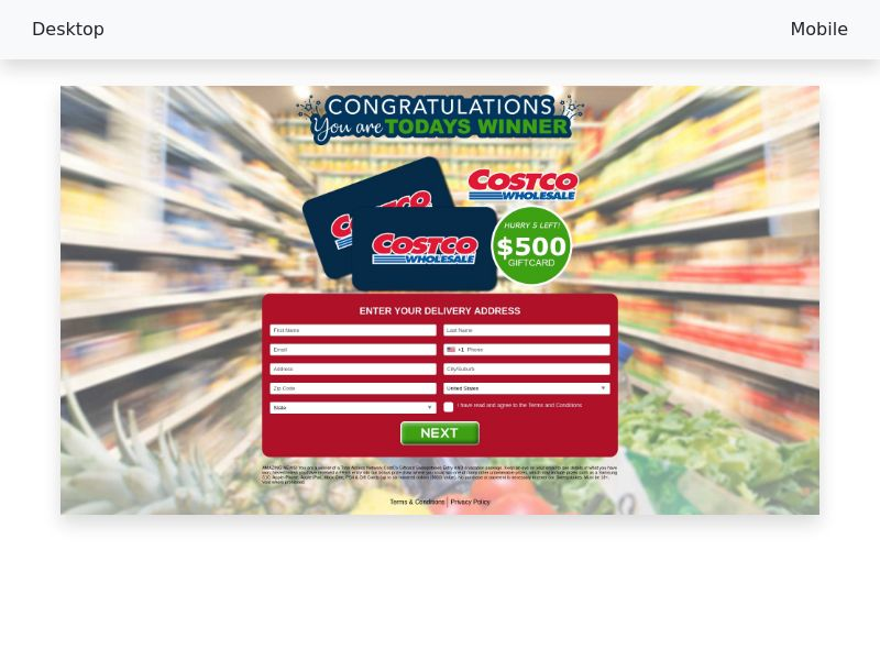 CC-submit - $500 Costco Giftcard Sweepstakes (v1) - CPA [US]