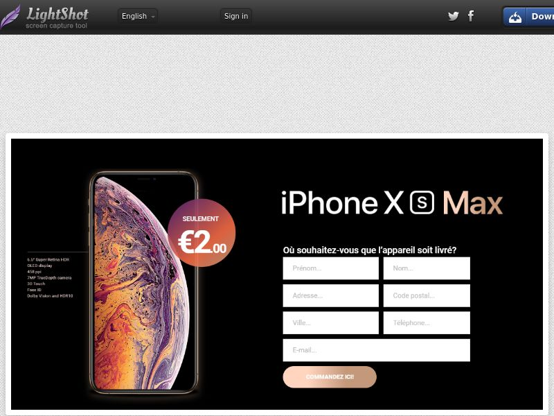 winlotsofthings iPhone Xs Max (Sweepstake) (CC Trial) - Belgium (BEfr)