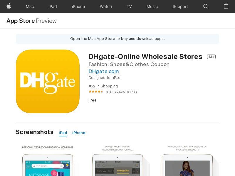 Dhgate IOS CA US AU IDFA
