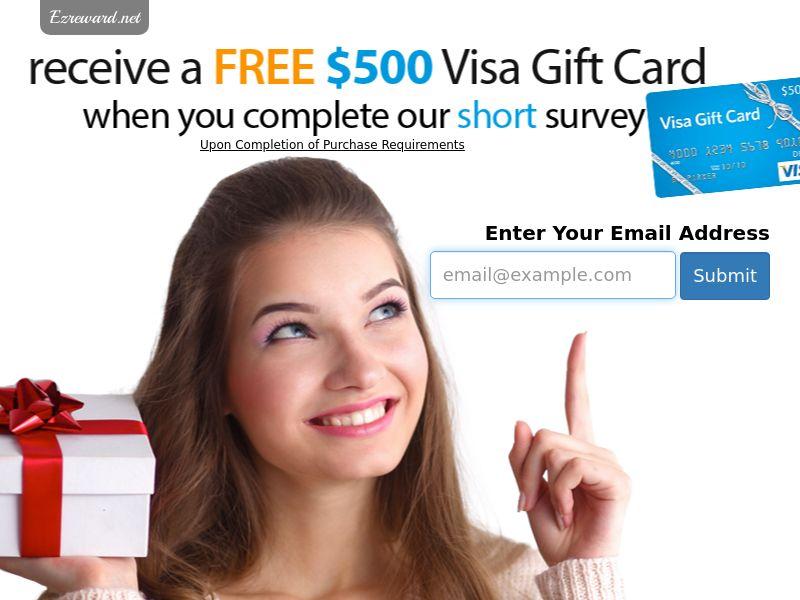 $500 Visa GIft Card Sweepstakes - USA (Incent)