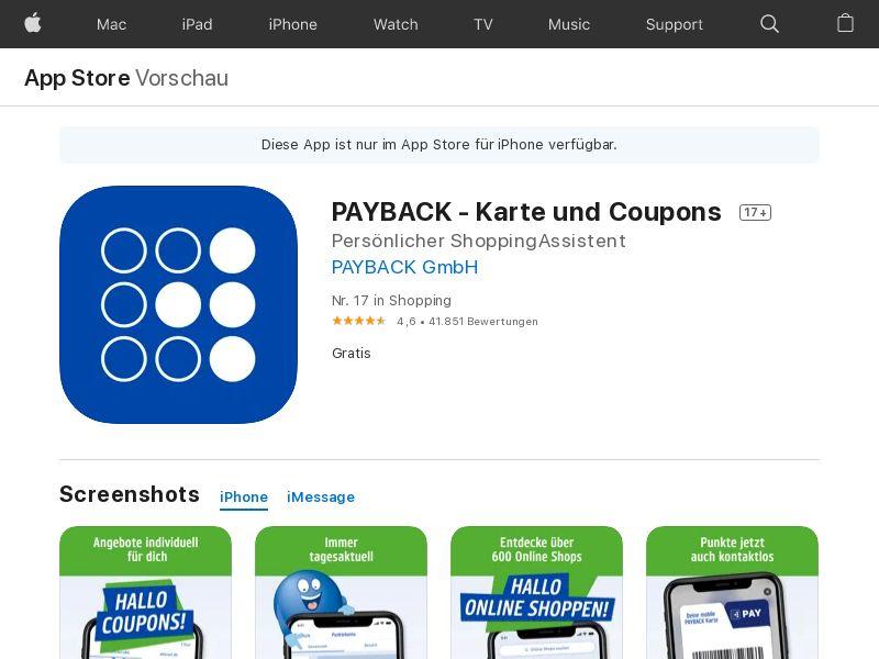 PAYBACK (iPhone 12.0+) DE - Non incent