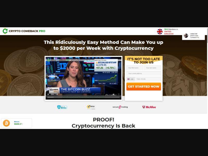 Crypto Comeback Pro - VSL - Crypto - SS - [67 GEOs]
