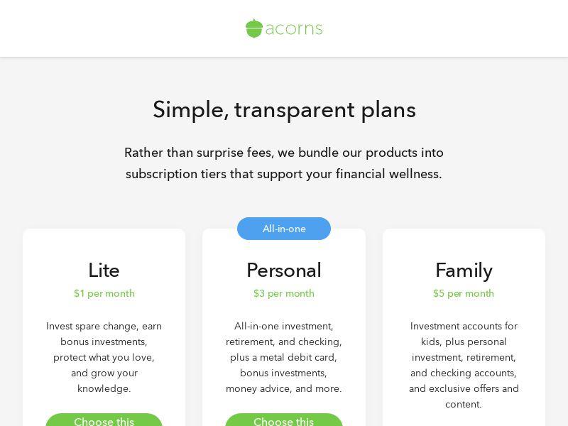Acorns - Invest in Change - US
