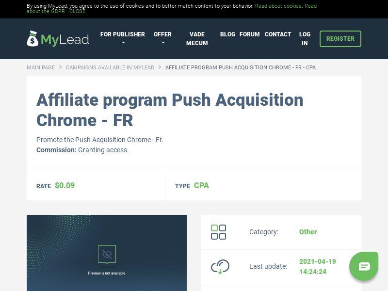 Push Acquisition Chrome - FR (FR), [CPA]