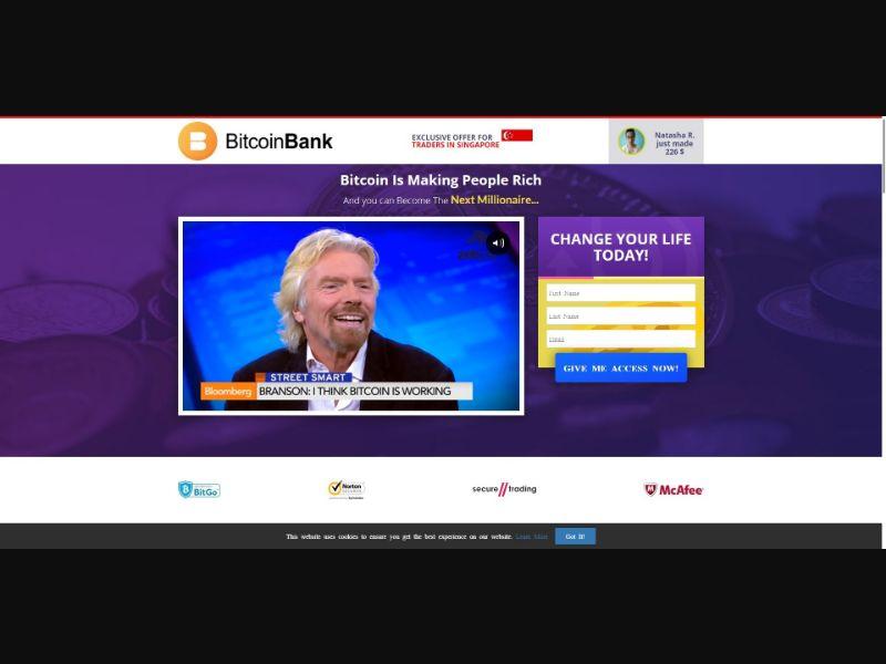 Bitcoin Bank - $245 min CTC - VSL - Crypto - SS - [75 GEOs]