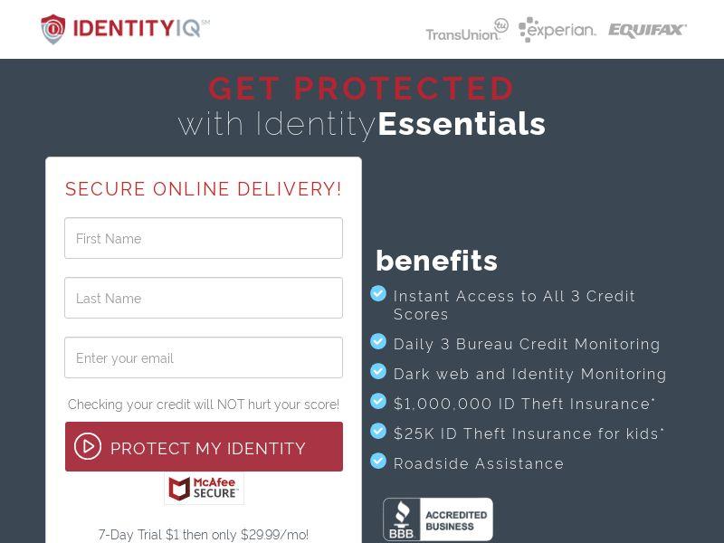 Identity Essentials - $1 Trial (CC Trial) - Financial/Credit Score - US