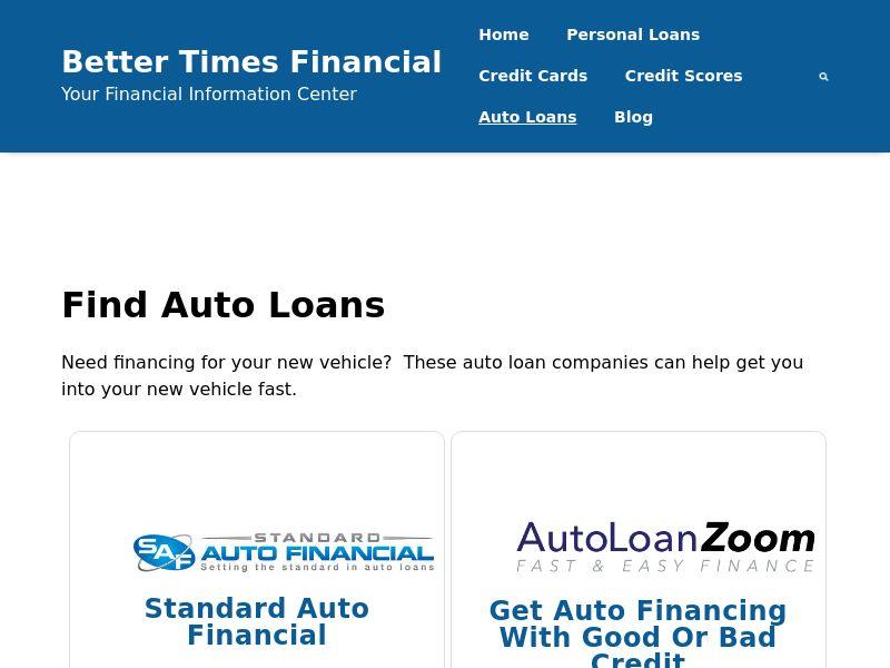 Better Times Financial - Auto Loan Landing Page