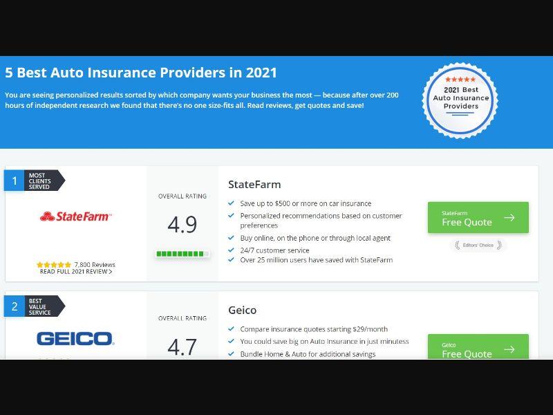 5 Best Auto Insurance Providers /US SOI
