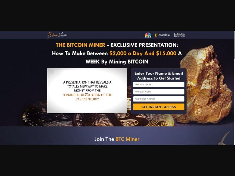 The Bitcoin Miner - VSL - Crypto - SS - [67 GEOs]