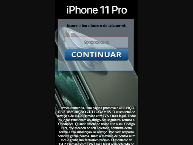 iPhone 11 Pro - SMS Flow - PT - Sweepstakes - Mobile