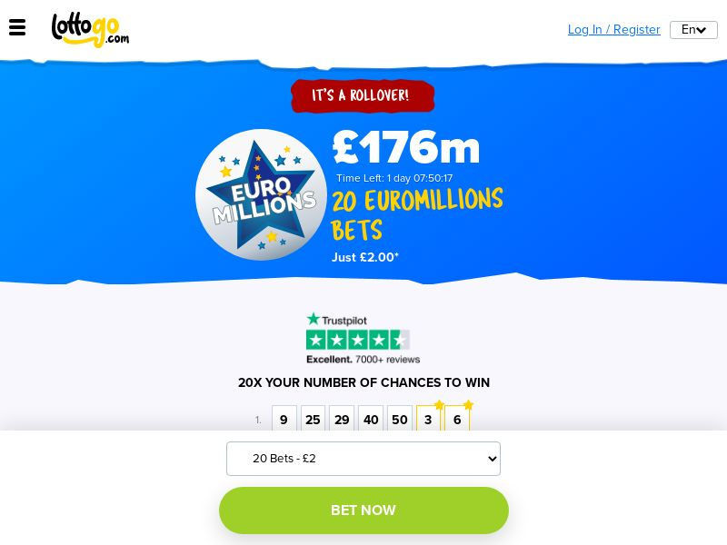 LottoGo - EuroMillions Syndicate 20 Tickets For £2 (Incent) [UK]