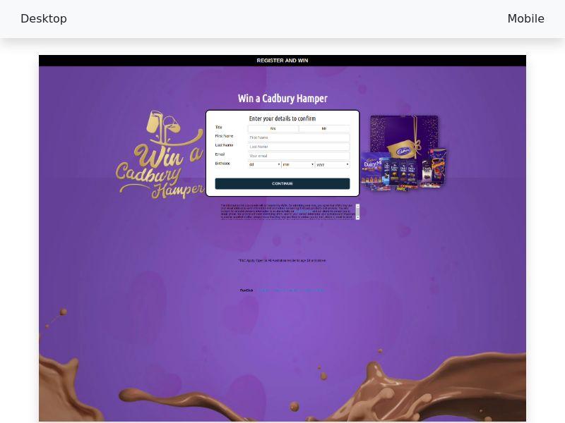 Sweepstake Cadburry Chocolate Hamper - CPL/SOI [AU]