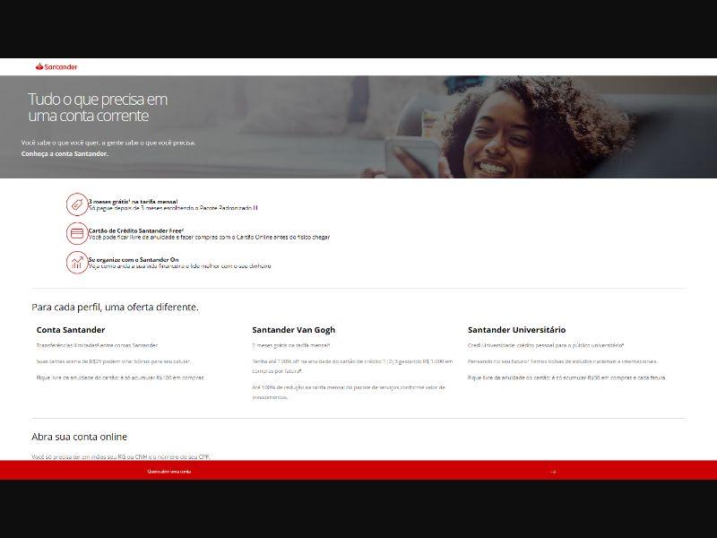 Banco Santander - Abertura De Contas [BR] - CPL