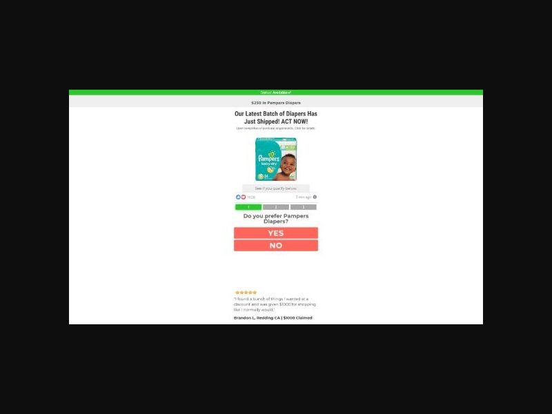 $250 Pampers Diapers Package Sweeps - US
