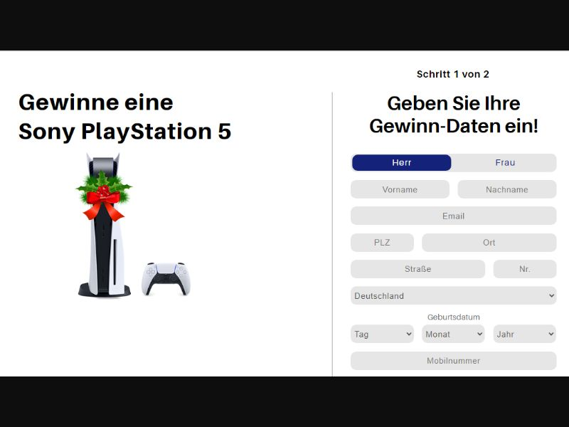 DE - Win PlayStation 5 (Christmas theme) [US] - SOI registration