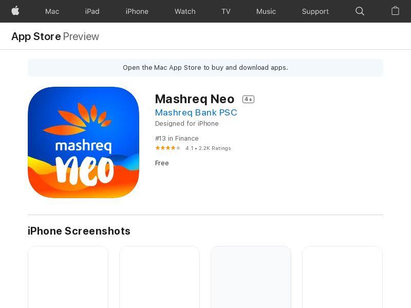 Mashreq Neo - iOS AE (CPR=Account Opened )