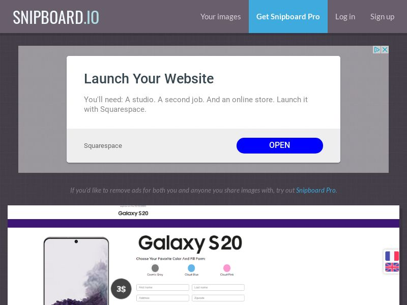 BigEntry - Samsung Galaxy S20 v1 CA - CC Submit (english/french)
