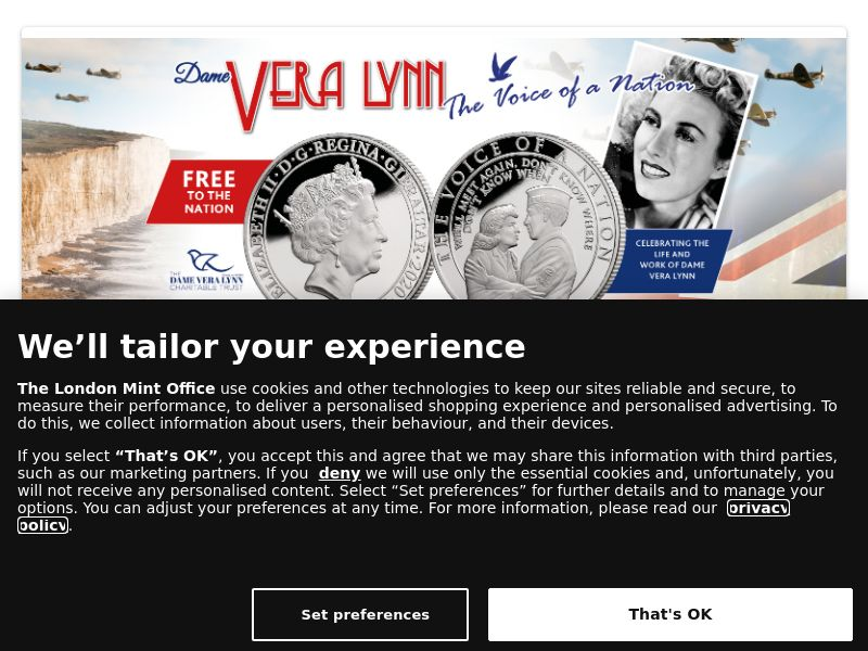 UK - Free Dame Vera Lynn Commemorative Coin