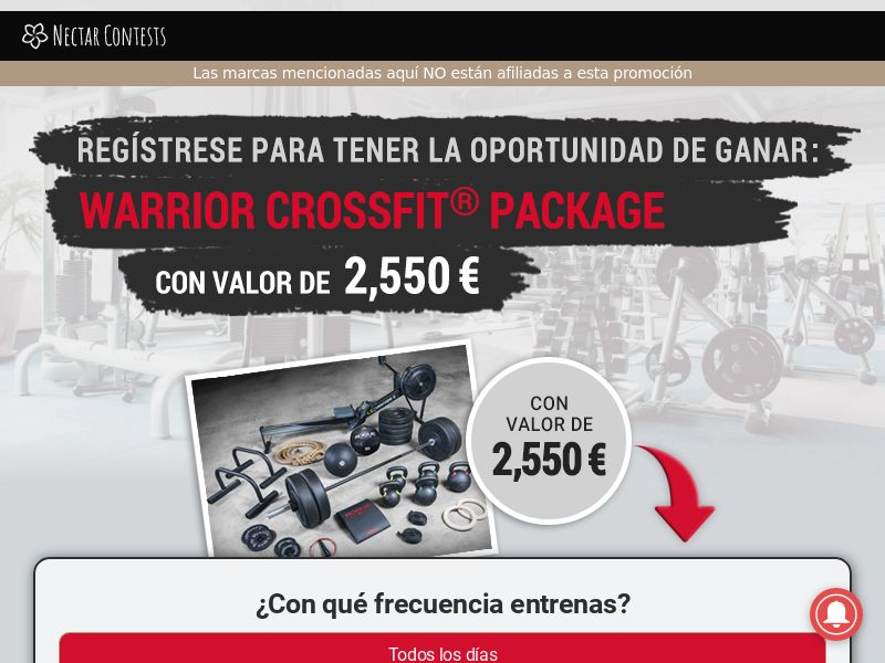 Warrior Crossfit Package - ES (ES), [CPL], Lotteries and Contests, Single Opt-In, paypal, survey, gift, gift card, free, amazon