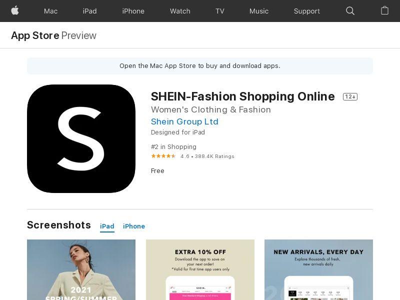 SHEIN-Fashion Shopping Online AE iOS CPI