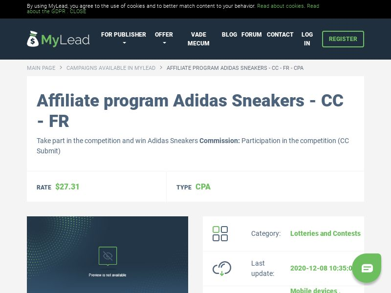 Adidas Sneakers - CC - FR (FR), [CPA], Lotteries and Contests, Credit Card Submit, paypal, survey, gift, gift card, free, amazon
