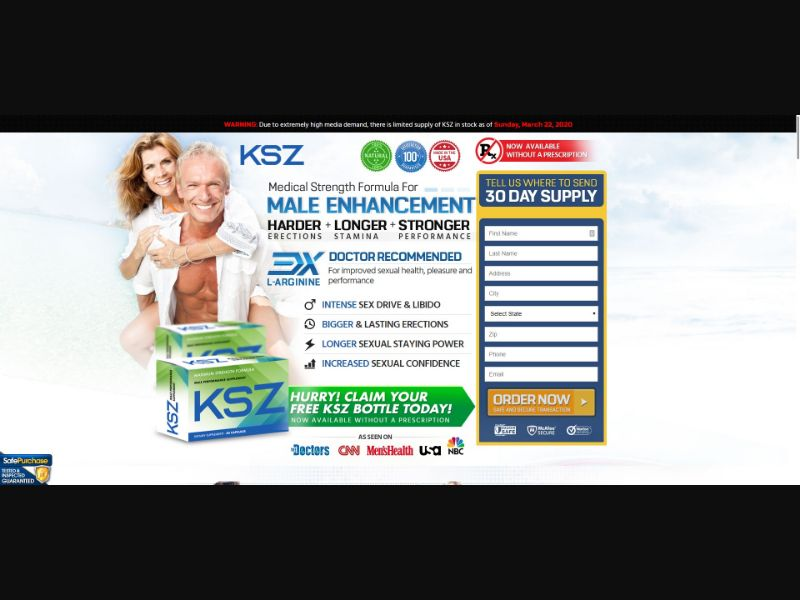 KSZ Maximum Strength Formula - Male Enhancement - Trial - [US] - with 1-Click Upsell [Step1 $23.80 / Upsell $23.80]