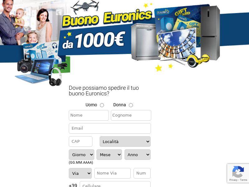 Electronics Euronics 1000 € - SOI - CPL SOI - sweepstakes - IT