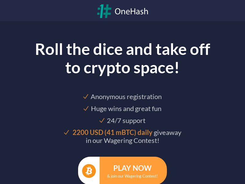 OneHash BTC Casino - Dice 2 (INTL) (CPS) (Personal Approval)