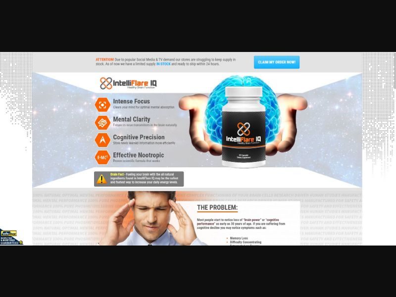 IntelliFlare IQ - Brain Enhancement - Trial - NO SEO - [IE] - with 1-Click Upsell [Step1 $20.8 / Upsell $19.5]