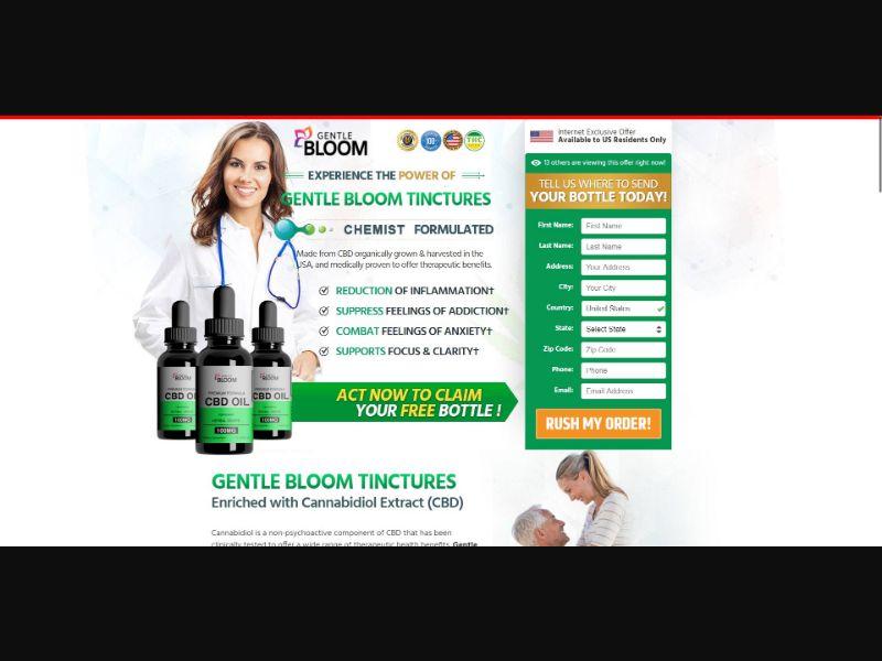Gentle Bloom Premium Formula CBD Oil - CBD - Trial - NO SEO - [US]