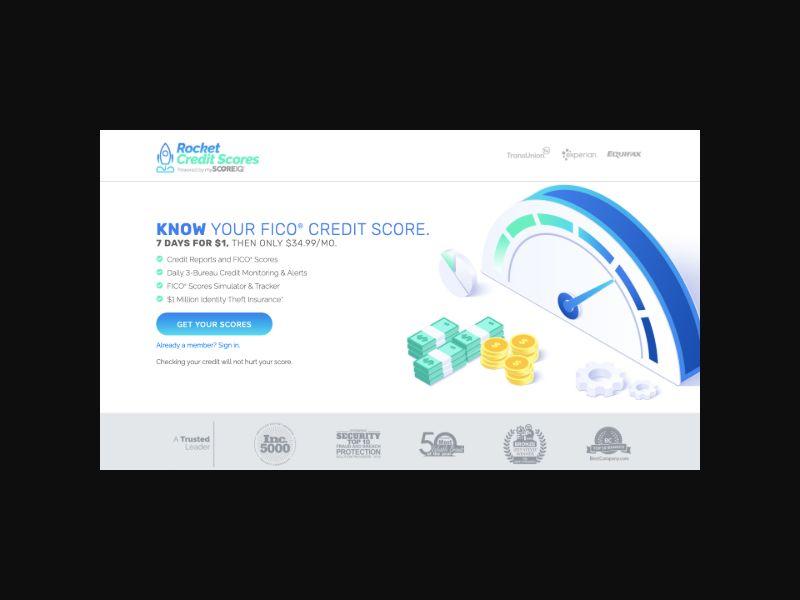 Rocket Credit Scores (US) $1 Trial