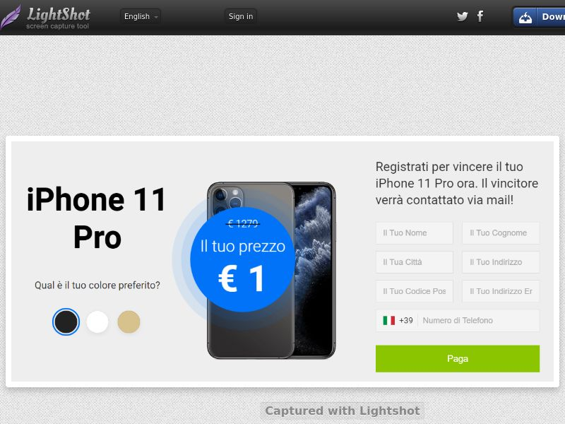 Youcanwintoday iPhone 11 Pro (Sweepstakes) (CC Trial) - Italy [IT]