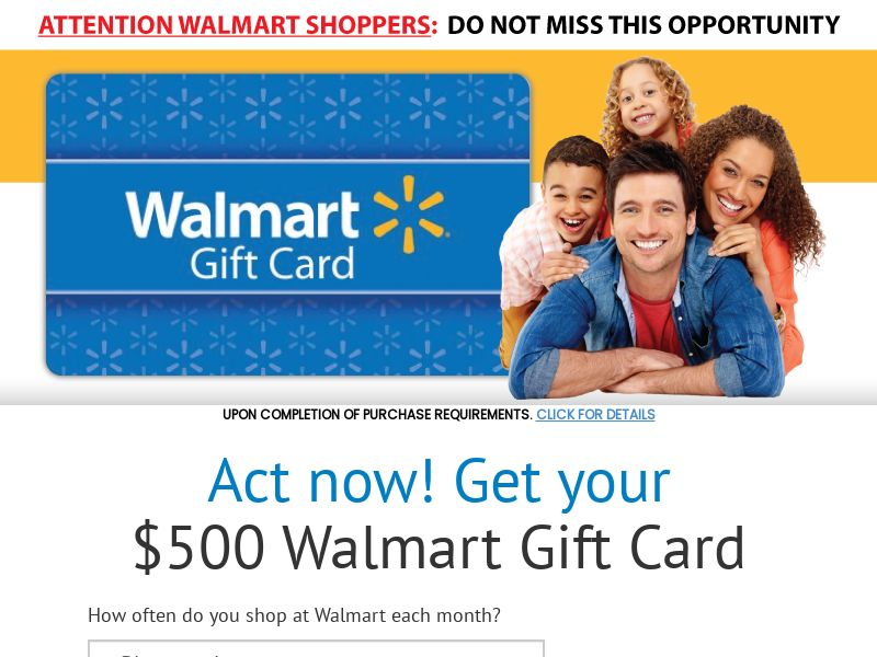 $100 Walmart Gift Card - US (Incent) - CPL - DIRECT