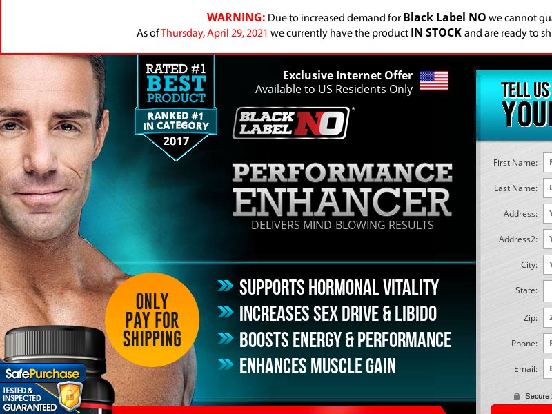 Black Label NO Men's Fitness (CC Trial) - Health/Fitness/Nutra - US