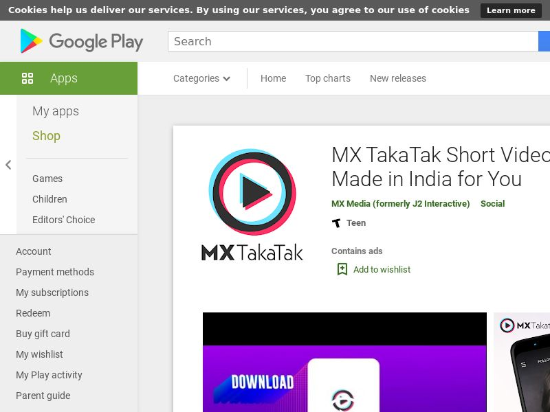 MX TakaTak (English) - IN - Android (CPI) *redirects only with GAID*