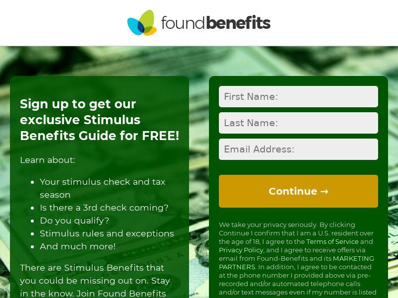 Found Benefits (Stimulus) - Email Submit