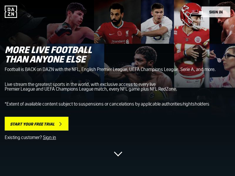 DAZN Sports Streaming - Mobile and Desktop - CA - Converts on new free 30-day trial subscription