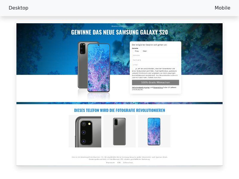 Sweepstake Samsung S20 CPL SOI [DE, AT, CH]