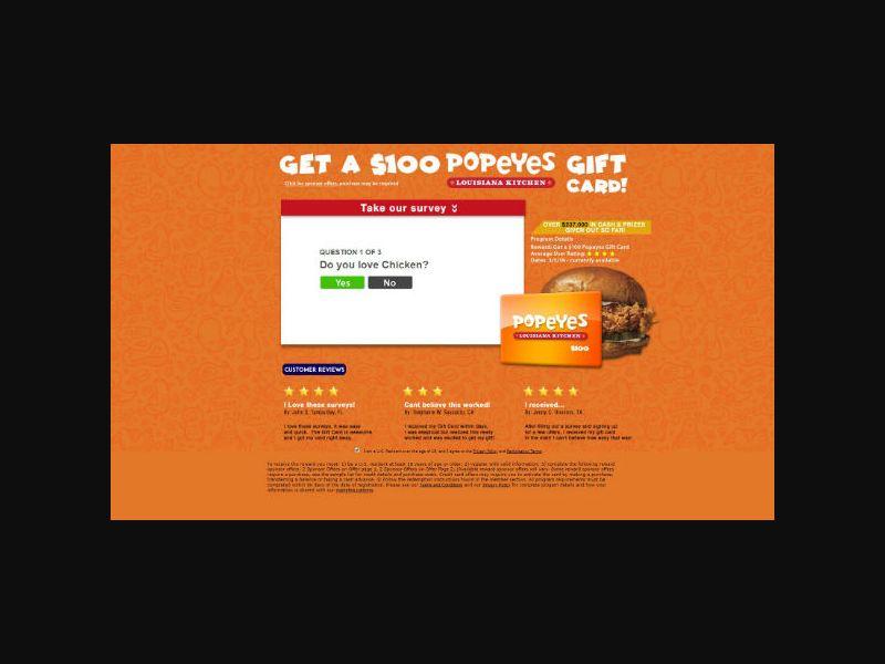 Dining Rewards Club - $100 Popeye's Gift Card - SOI (US)