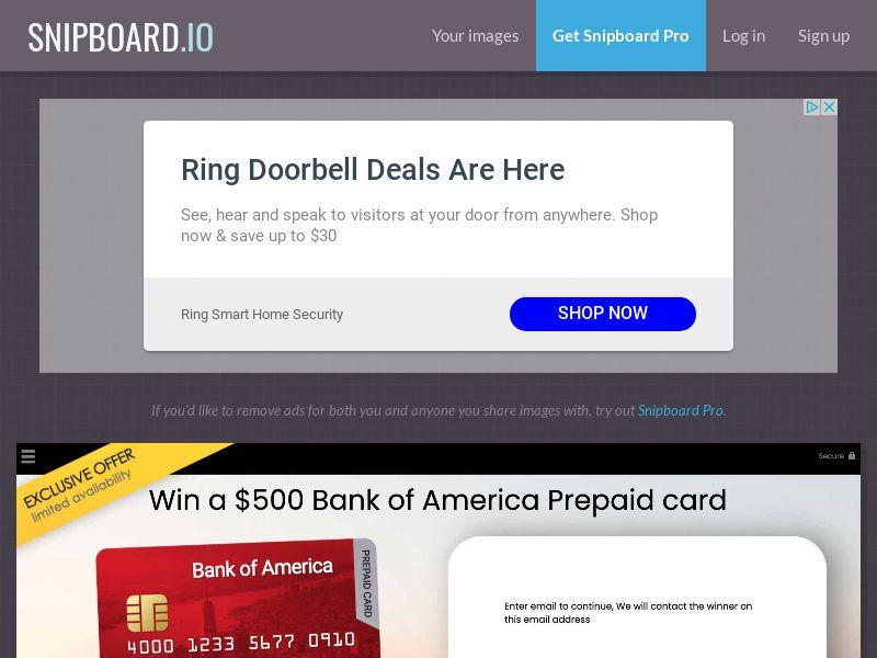 YouSweeps - Bank of America Giftcard US - SOI