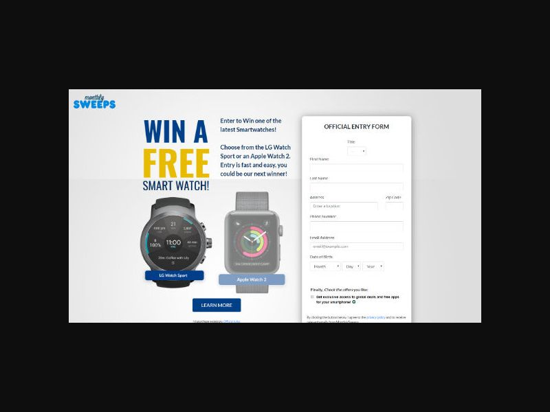 MonthlySweeps - Smart Watch - Form Submit