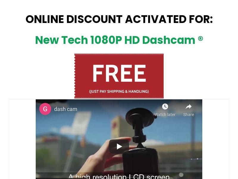 New Tech Dash Cam (US) (SURVEY ALLOWED) (SMS ALLOWED)