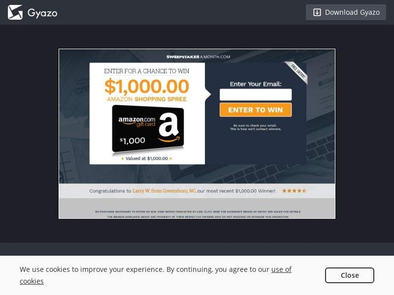 Sweepstakes a Month - $1,000 Amazon Gift Card V.2 US | SOI