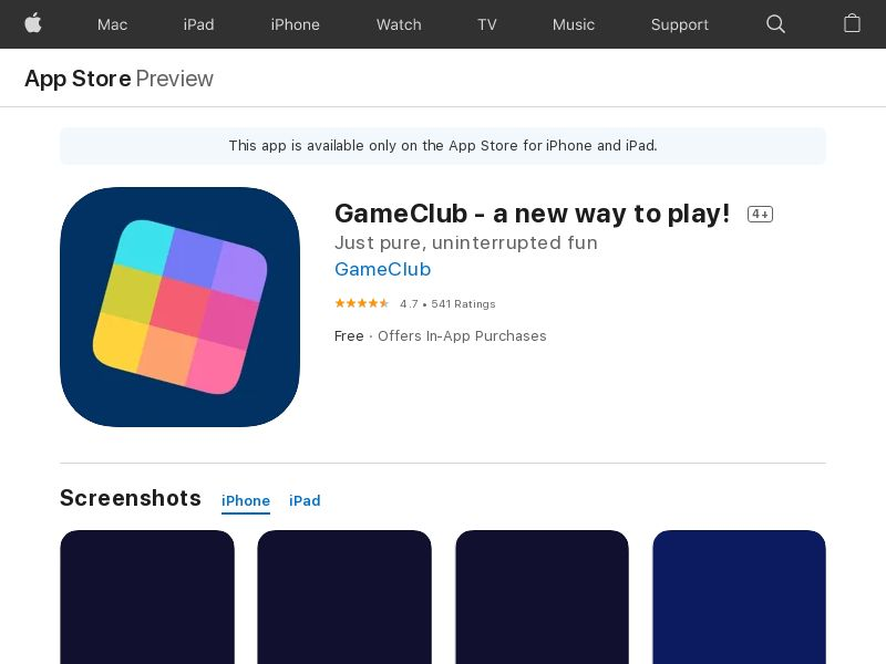 GameClub - CA - iOS *redirects only with correct IDFA* (CPR=signup for free trial)
