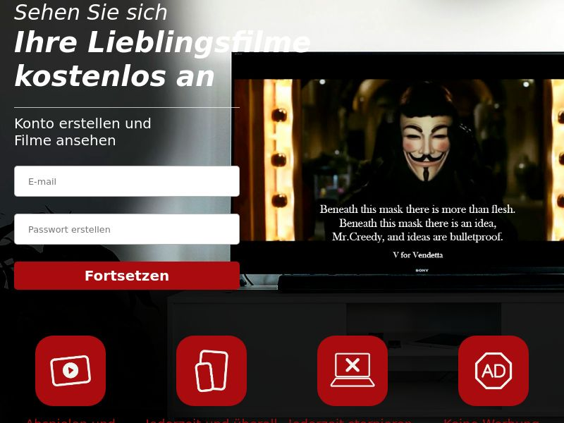 V for Vendetta - Streaming - Movie VOD - DE - CC Submit