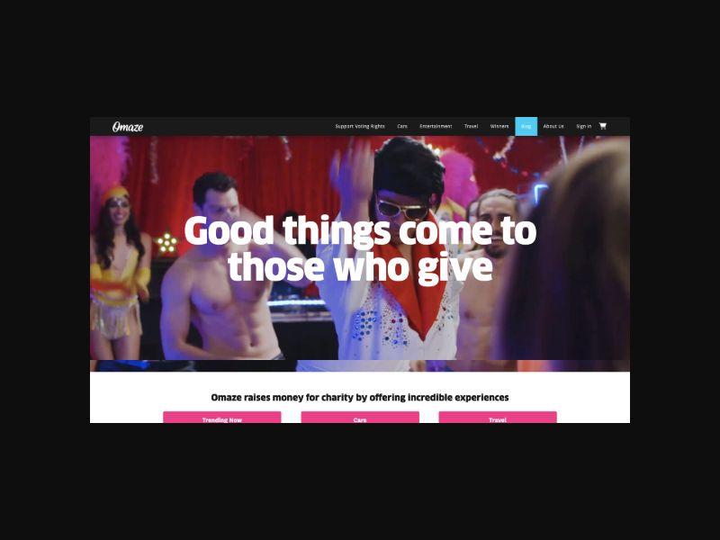 Omaze Online Sweepstakes (CA,UK) Revshare