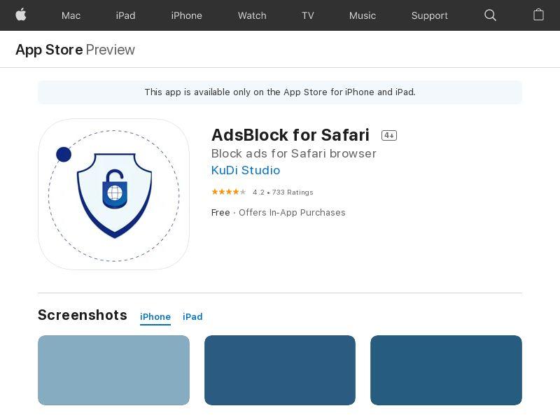 AdsBlock for Safari iOS CPI ios mobile SAFARI only US JP GB CA FI DK SE CH AU MX