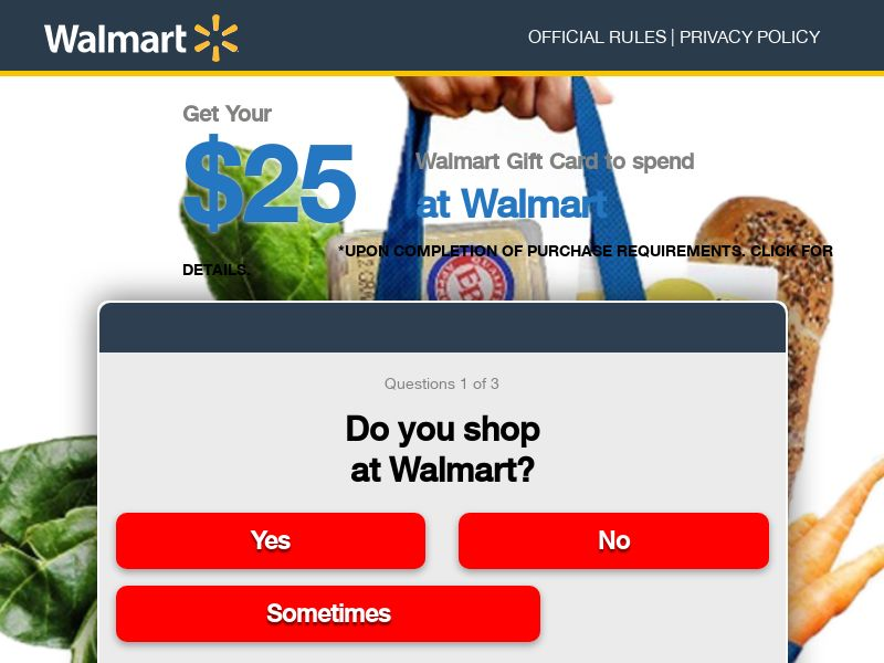 $25 WalMart Gift Card - Email Submit